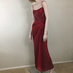 Cache Red Beaded Long Formal Dress
